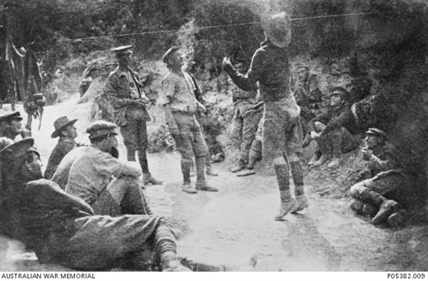 Australian soldiers playing two up behind the firing line at Gallipoli