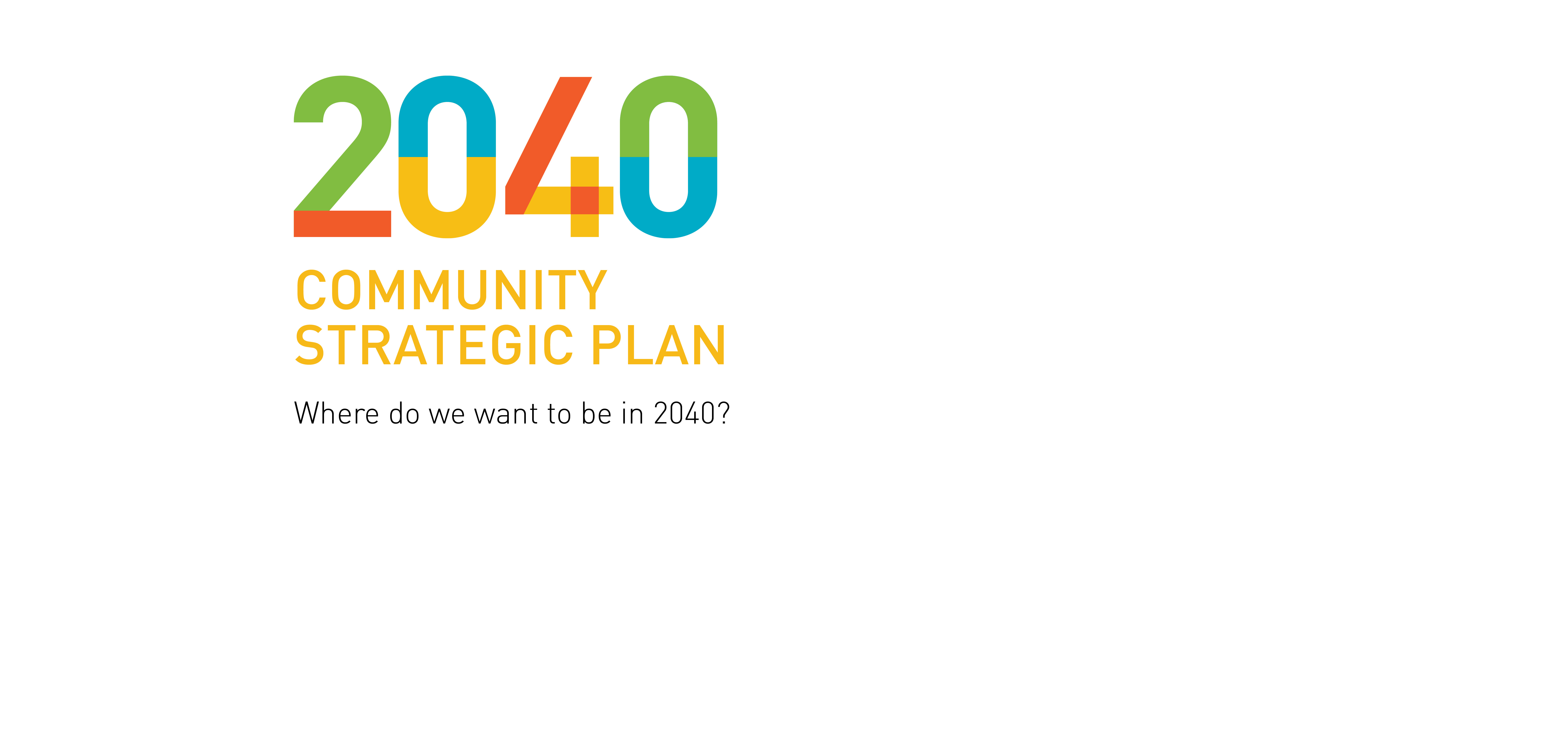 The 2040 Community Strategic Plan outlines aspirations and visions as overarching strategic outcomes to be achieved by 2040.